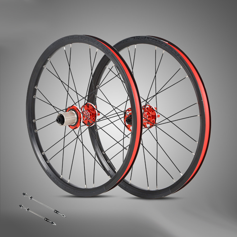 BMX MTB Folding Bicycle Wheelset 20 Inch 24 Holes Aluminum Alloy 4 Bearing Rims 20mm Depth Bike Wheels Parts