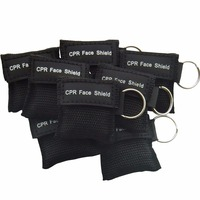 500Pcs/Pack CPR Resuscitator Mask Keychain Key Ring Emergency Face Shield With One way Valve CPR Mask For Health Care Black Bag