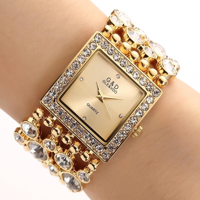 2017!! July!! New!! Gold Silver Big Diamond Stone Shinning Women Luxury Design Wrist Watch