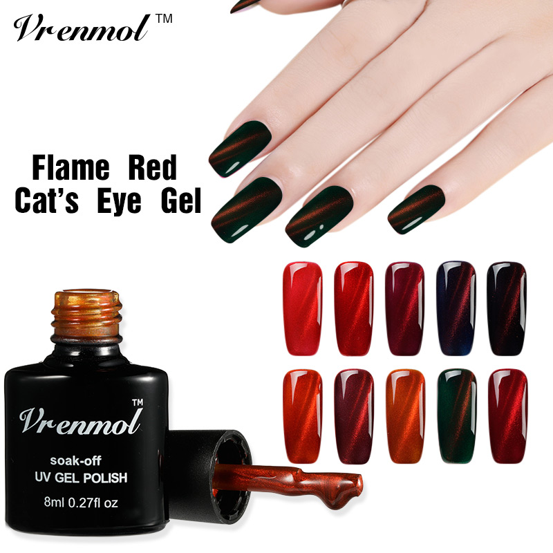 Vrenmol 8ml Red Flame UV Fire Cat Eye Nail Gel Polska Shining Color Lack Soak Off 3D Magnet DIY Manicure Lack Ny Ankomst