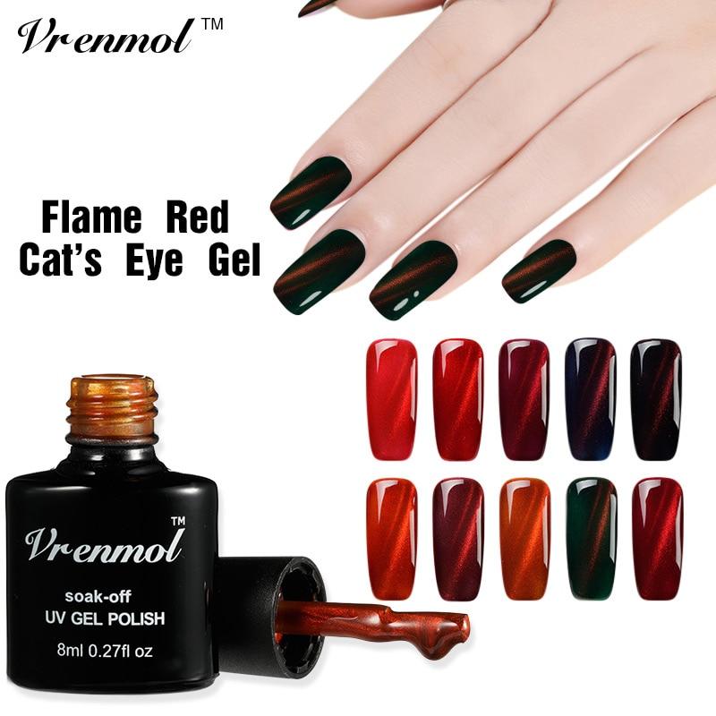 Vrenmol 8ml Red Flame UV Fire Cat Eye font b Nail b font Gel Polish Shining