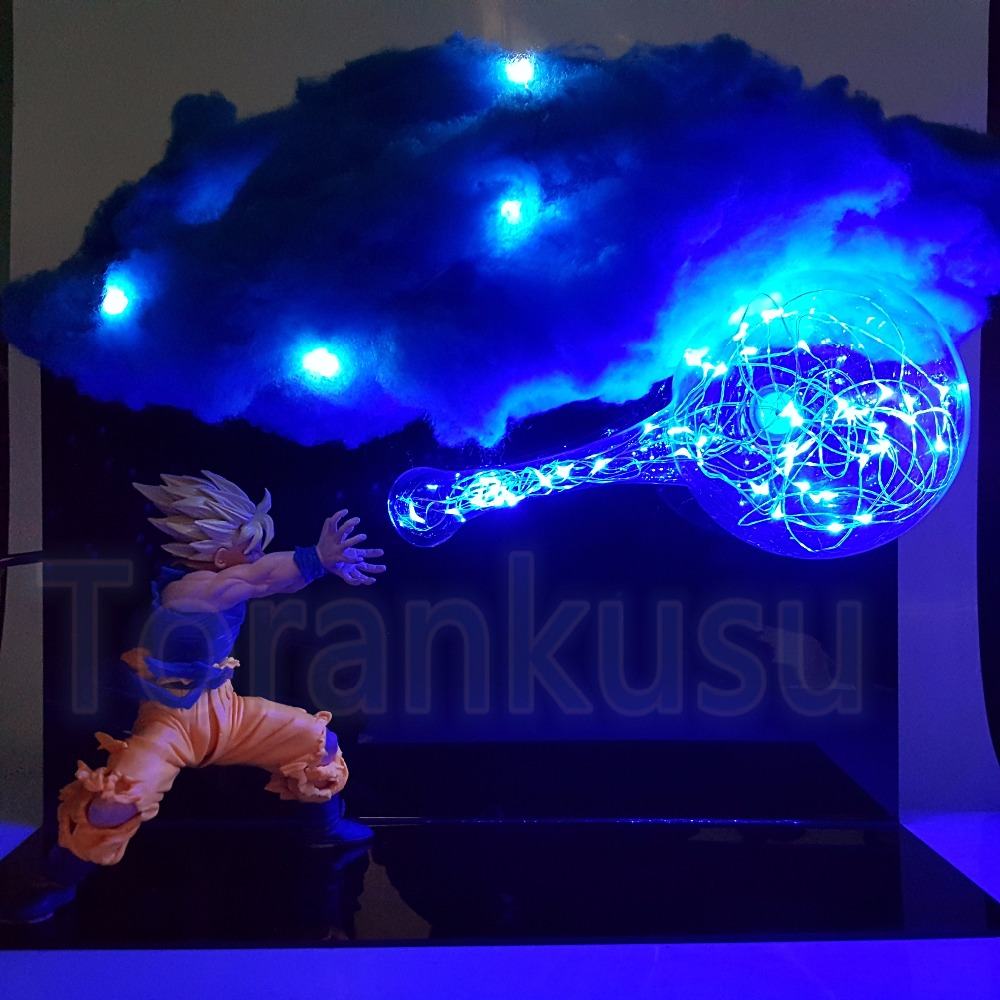 Dragon Ball Z Action Figure Son Goku Led Cloud Feffect DIY Display Toy Dragon Ball Super Saiyan Goku Kamehameha DBZ Model DIY177