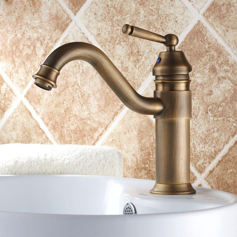 Antique Brass Single Handle Swivel Spout Bathroom Basin Faucet Washbasin Mixer Tap Countertop Mount