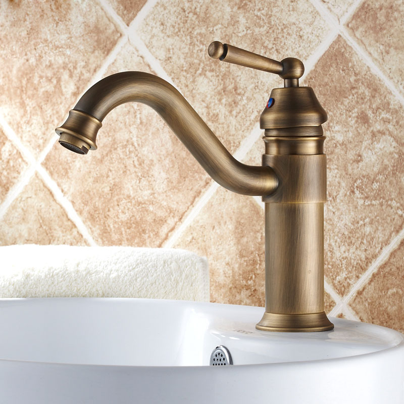 Antique Brass Single Handle Swivel Spout Bathroom Basin Faucet Washbasin Mixer Tap Countertop Mount solid brass single handle waterfall spout bathromm sink faucet countertop basin mixer tap antique brass