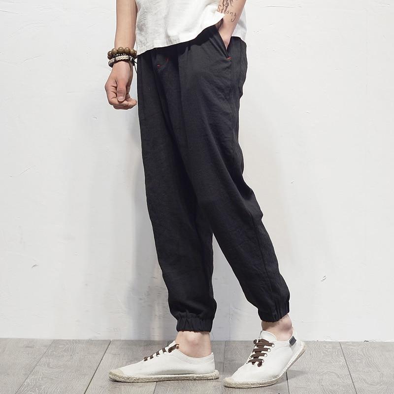 Мужские летние хлопковые льняные шаровары свободные длинные брюки для отдыха японский стиль большой размер S 5XL