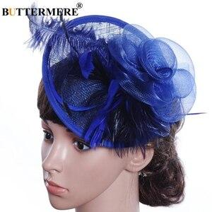 Image 4 - BUTTERMERE Fedora Hat Party Women Burgundy Hats Linen Wedding Lady Feather Flower Fascinator Pillbox Hat Bride Elegant Cap Black
