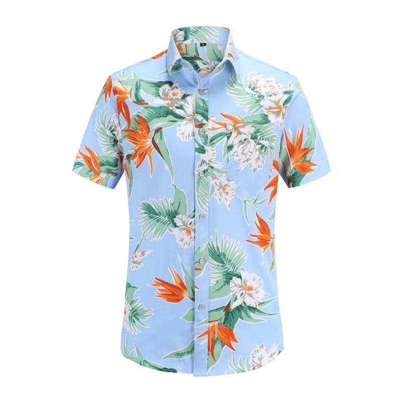 Men Casual Shirt Hawaiian Short Sleeve Flower Shirt Men Regular Fit Summer Flamingos Cotton Mens Shirts Plus S-3XL