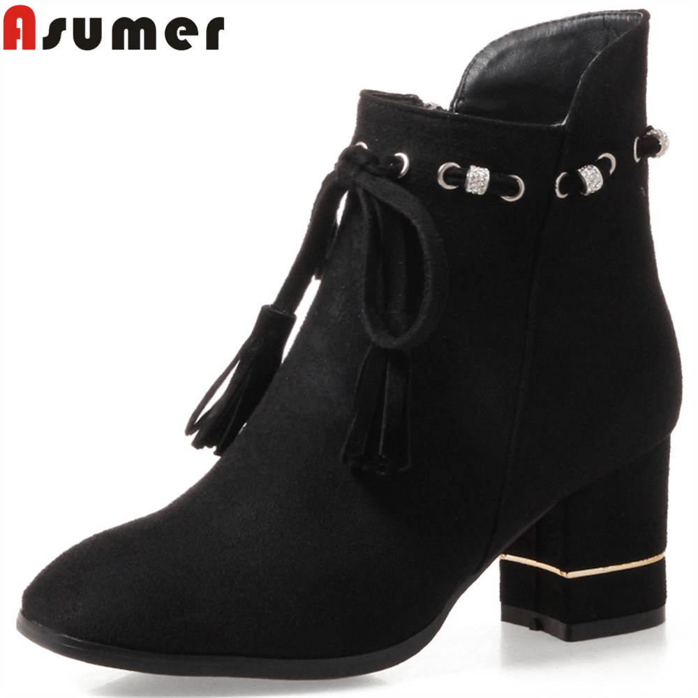 Asumer 2018 hot sale new arrive women boots black red yellow ladies boots flock square heel zipper ankle boots cross tied armoire hot sales black yellow red brown gray flats women slouch ankle boots solid ladies winter nude shoes aa 3 nubuck
