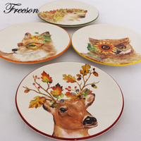 Creative Animal Owl Fox Deer Hedgehog Dishes And Plates Cake Pastry Porcelain Tray Steak Noodle Dinner Ceramic Tableware Decor