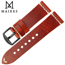 MAIKES New Special Watch Band 22mm 24mm Accessories Genuine Leather Strap Vintage Greasedleather Watchband