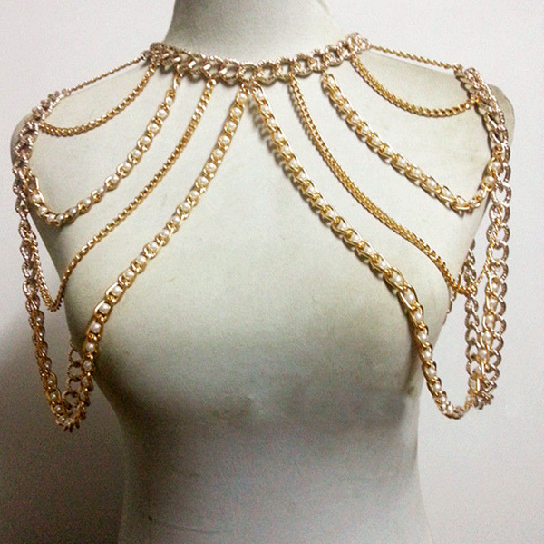 CHRAN Fashion Women Sexy Gold Color Body Necklace Chain Charm Multi Layer Faux Pearl Shoulder Slave Belly Belt Harness Jewelry acrylic clear lecture table and pulpit clear custom acrylic church podium pulpit for sale clear acrylic church podium