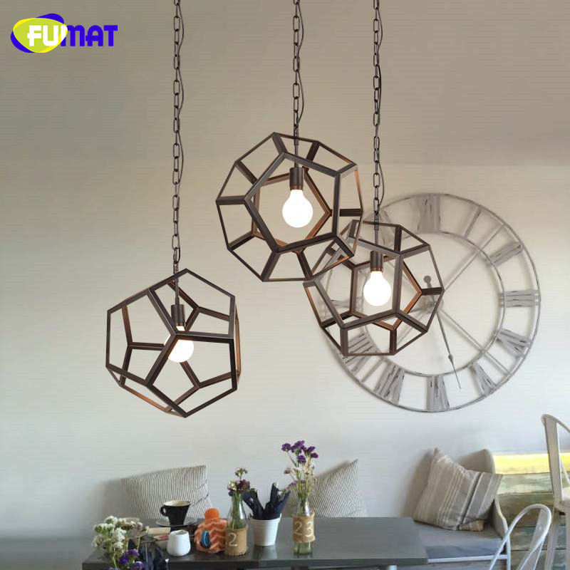 Loft Pendant Lamp Industrial Vintage Style Polyhedron Metal Light Fixture Restaurant Lamp Bar Kitchen Lampadari Droplight