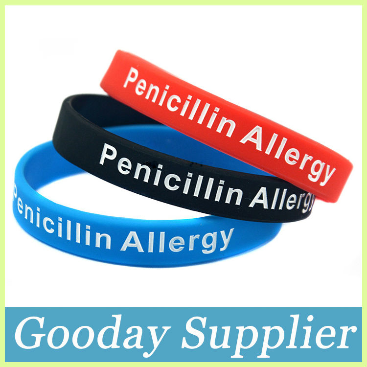 Whole100pcs Lot Medical Alert Penicillin Allergy Silicone Bracelet ...
