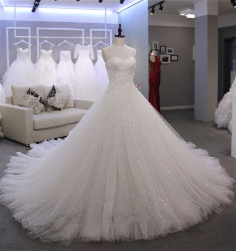 Charming High Quality Wedding Dress Sweetheart Neckline Zipper Back Custom Made Plus Size Bridal Wedding Gown Real Photos