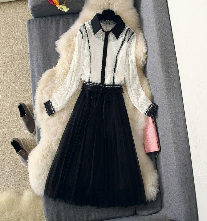 2019 nouvelle mode printemps femmes jupe costume dames à manches longues dentelle chemise Blouse + noir gaze jupes doux deux pièces ensemble