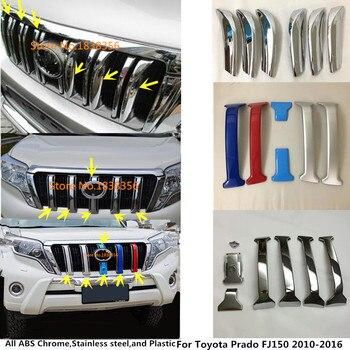 Mobil Tubuh ABS Chrome Depan Balap Grill Grille Kamera Radar Trim Cover untuk Toyota Prado FJ150 2010 2011 2012 2013 2014 2015 2016