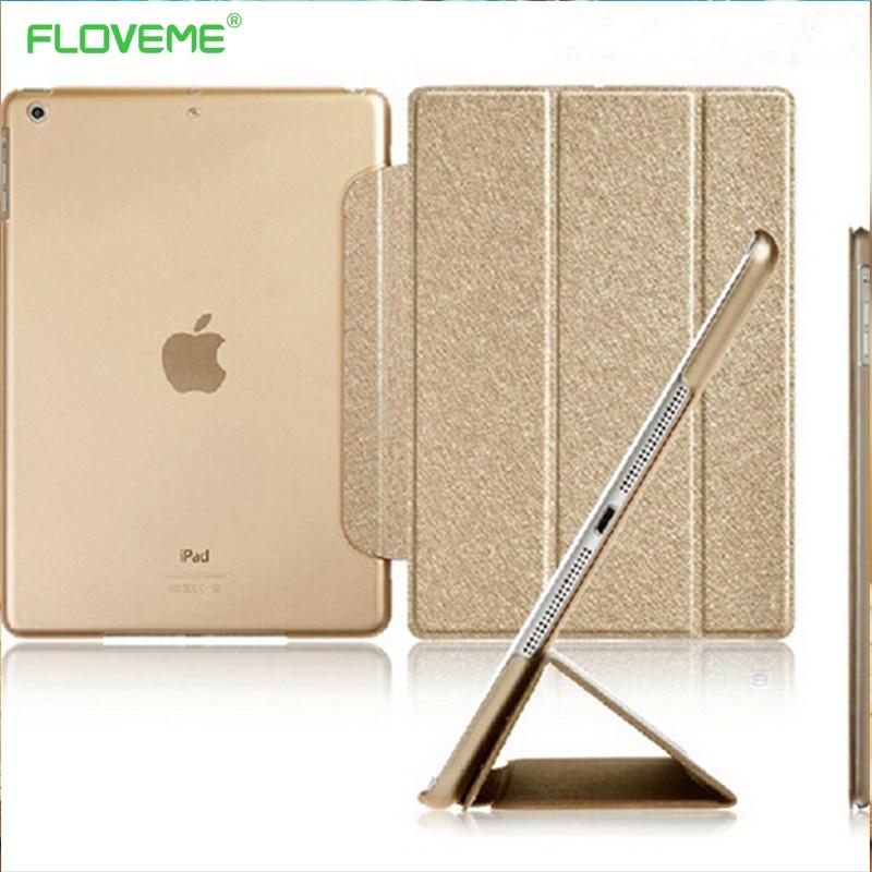 FLOVEME For iPad Mini 1 2 3 Three Fold Luxury Silk Awake Sleep Clear Leather Flip Cover Ultra Thin Stand Scrub TPU Glitter Case