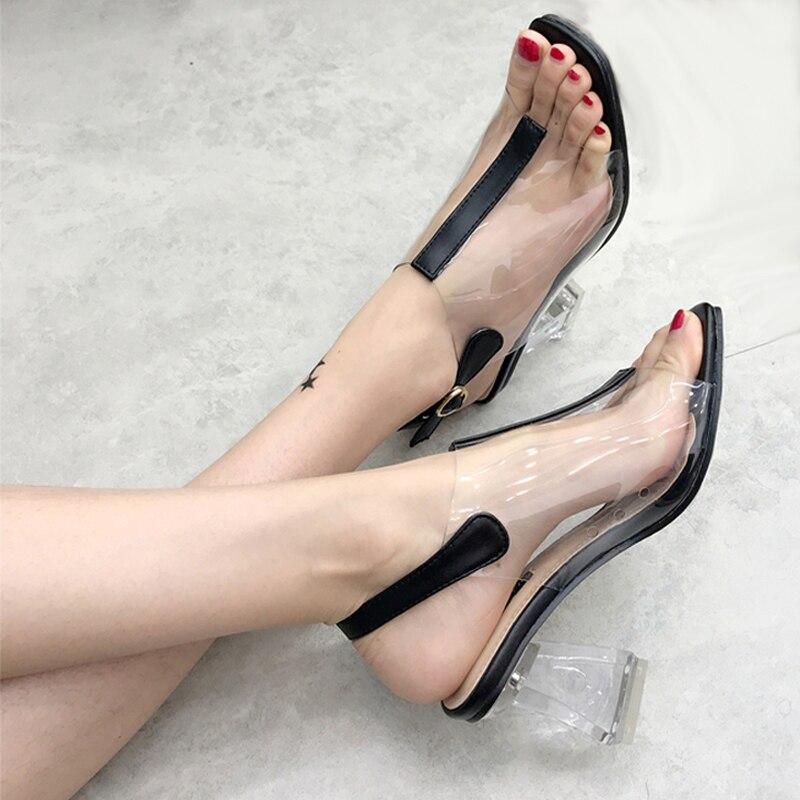 Talon Transparent Chaussure 8.5cm Womens Shoes Summer Transparent PVC Sandals Fashion Clear Heels Ladies High Heel Sandals