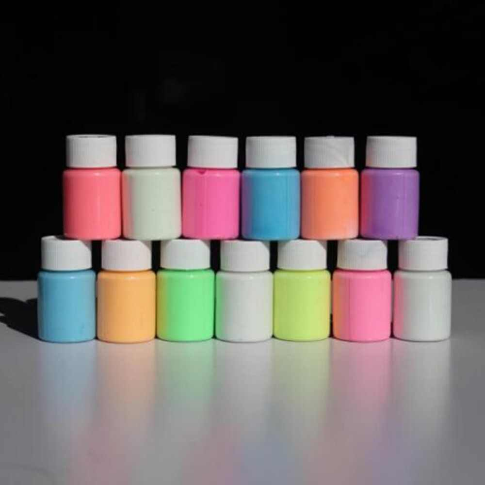 13 di colore FAI DA TE Top Eco Odore Non tossico Impermeabile Libero Graffiti Vernice Acrilica Luminosa Glow in The Dark Pigmento partito Pareti