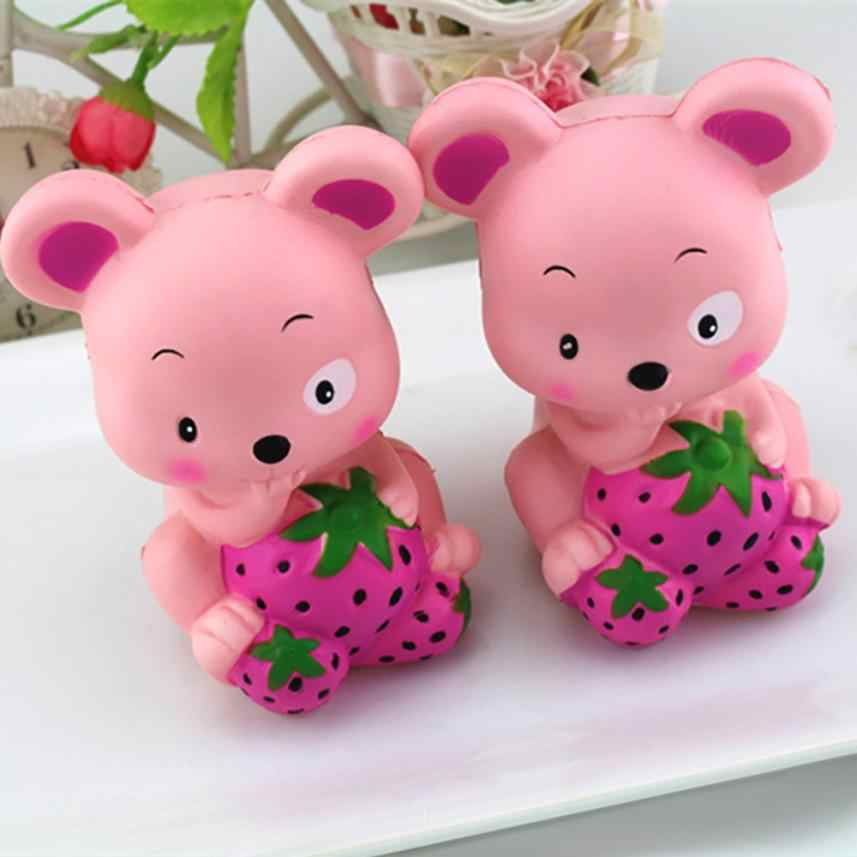 New Cute Squishy Jumbo Strawberry Mous Slow Rising Straps Pendant Anti Stress Soft Squeeze Cream Scented Bread Cake Kid Toy Gift