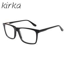 Kirka Acetate Optical Frames Business Men Glasses Black Rectangular Full-Rim Male Eyewear