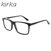 ad17c2172 Kirka Quadros de Acetato de Armações de Óculos De Homens De Negócios Preto  Retangular Óculos Full-Aro Armações de Óculos Masculi.