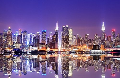 New york super city skyline night backgrounds vinyl cloth - New york skyline computer wallpaper ...