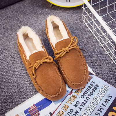 2016 Leather Suede Cotton Fabric With Fur Winter Women Loafers Slip On Women Flats Casual Ladies Warm Oxfords Shoes for Women