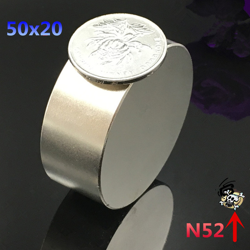 1pcs N52  Neodymium magnet  50x20 mm gallium metal super strong round magnet 50*20  Neodimio magnets for water meters speaker qs 3mm216a diy 3mm round neodymium magnets golden 216 pcs