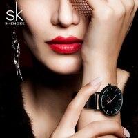 Shengke Fashion Black Women Watches 2017 High Quality Ultra thin Quartz Watch Woman Elegant Dress Ladies Watch Montre Femme SK 1