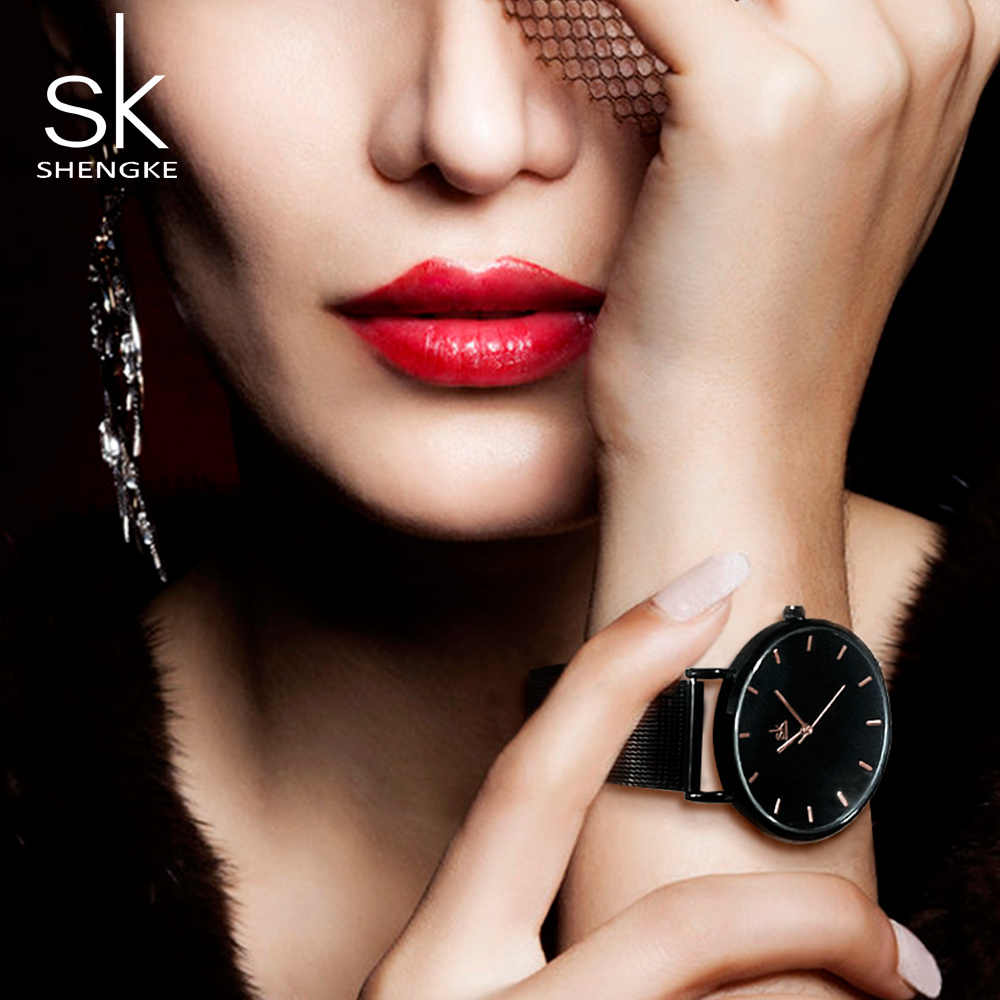 Shengke ファッション黒女性は 2017 の高品質超薄型クォーツ時計女性のエレガントなドレス女性ドレスウォッチモンタフェム SK