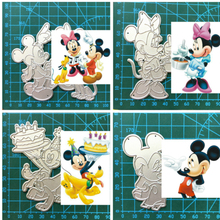 1PCS Cute Mickey minnie cutting die+1PCS carft Tag Stencil For DIY Scrapbook Paper Card Decorative Craft Embossing Die Cut