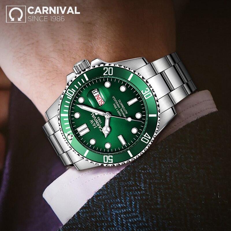 Лидер продаж карнавальный Для мужчин S Часы Лидирующий бренд Роскошный Сапфир Стекло водонепроницаемый автоматические механические часы Д...