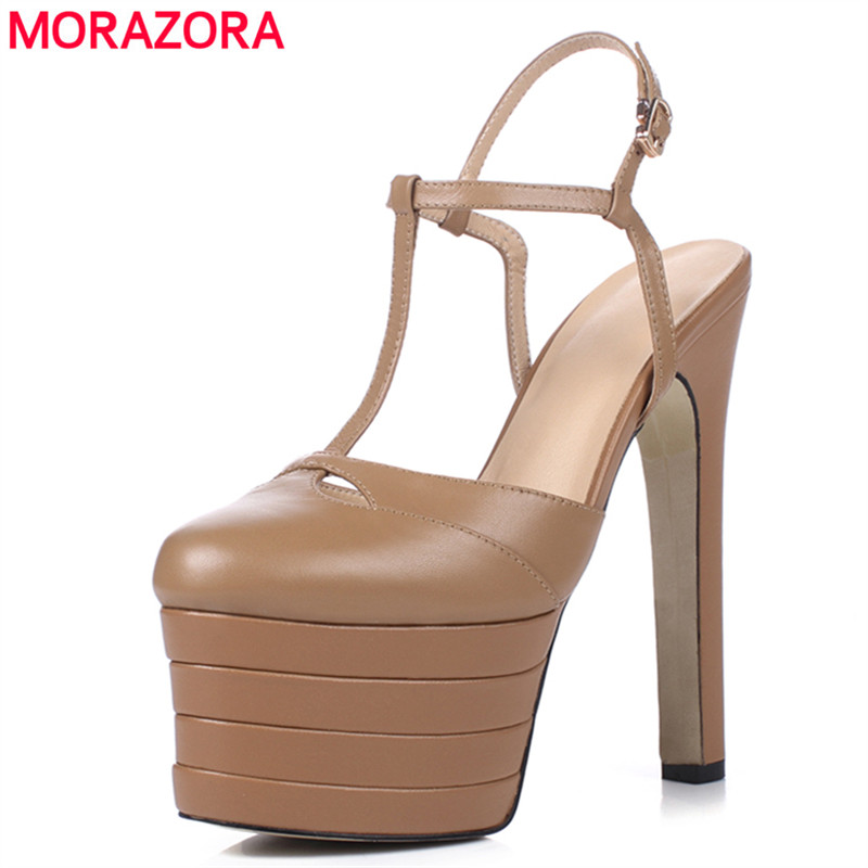MORAZORA Big size 34 41 Brand Genuine leather sandals women thick platform summer bridal wedding shoes