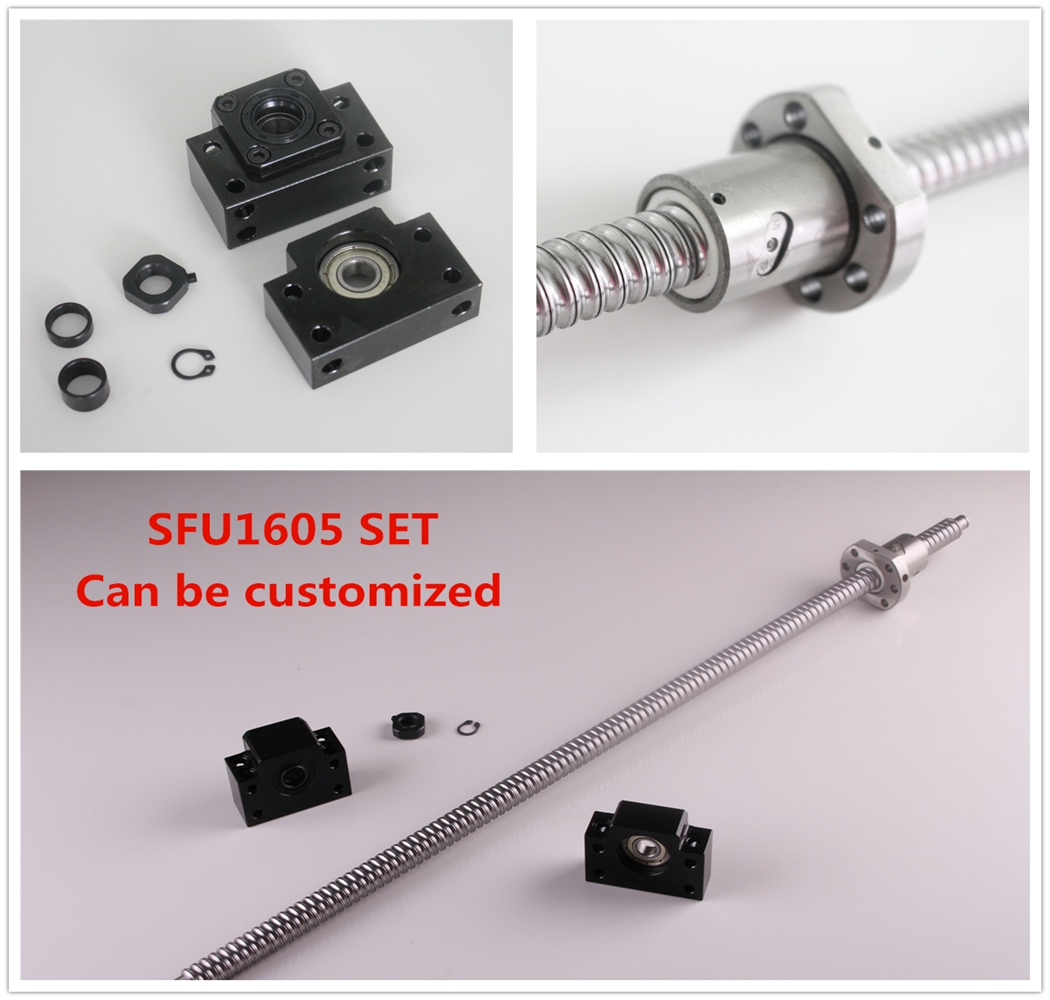 Ball Screw SFU1605 550mm End machine with BK12/BF12 End Support Bearing Mounts BallScrew CNC ball screw sfu1605 550 end machine with bk12 bf12 end support bearing mounts 1set