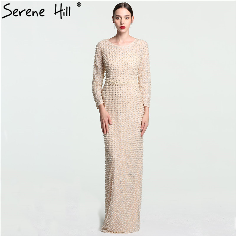 2017 Newest Fulle Pearls Luxury Evening Dresses Long Sleeves Beach Tulle Evening Gowns 2017 Vestidos De Festa gown