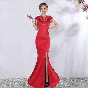 Image 5 - זה Yiiya שמלת ערב v צוואר קצר שרוולים ואגלי מפלגת שמלות סקסי באורך רצפת ציפר חזור פורמליות בת ים שמלות נשף C174