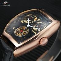 WINNER Top Brand Luxury Men Automatic Waterproof Watch Male Mechanical Wristwatch Genuine Leather Strap Skeleton Dial