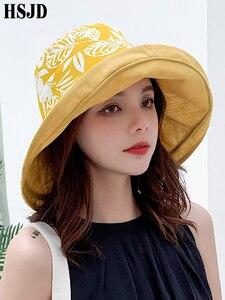 Image 2 - Summer Women Double sided Flower Print Cotton Sun Hats Ladies Fashion Wide Brim Foldable Sun Bucket Hats Anti UV Beach Hat Caps