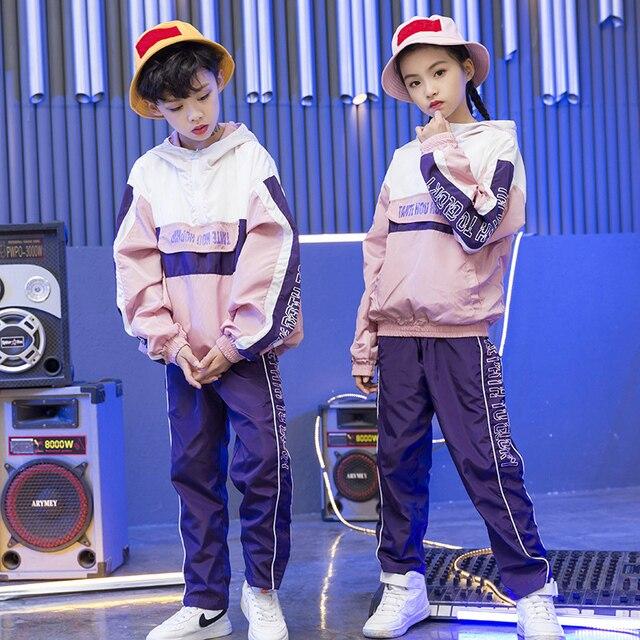 Дети хип-хоп толстовки Костюмы для девочек футболки на мальчиков спортивные штаны джаз танцевальные костюмы комплект Бальные Одежда для танцев уличная