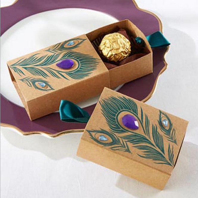 Jeweled Peacock Kraft Favor Boxes Wedding Favor Gifts Boxes Baby Birthday Candy Gifts Boxes 100pcs/lot