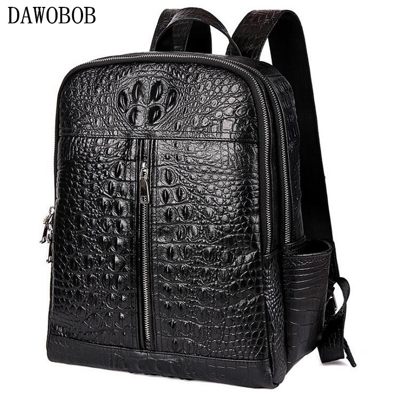 Crocodile Genuine Leather Men's Backpack Male Leather High Quality Student Travel Bag Men Designers Famous Brand High Quality s c cotton brand backpack men good quality genuine leather