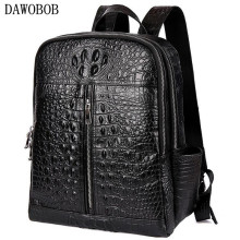 Crocodile Genuine Leather Mens Backpack Male High Quality Student Travel Bag Men Designers Famous Brand