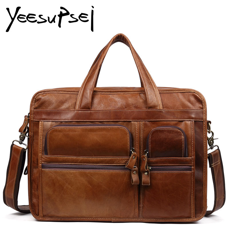 YeeSupSei Genuine Leather Men Big Bag Casual Business Man Shoulder Crossbody bags Cowhide Large Capacity Travel Messenger Bags big pocket pad genuine business greased leather cowhide travel crossbody 14laptop shoulder messenger book shopping fashion bags