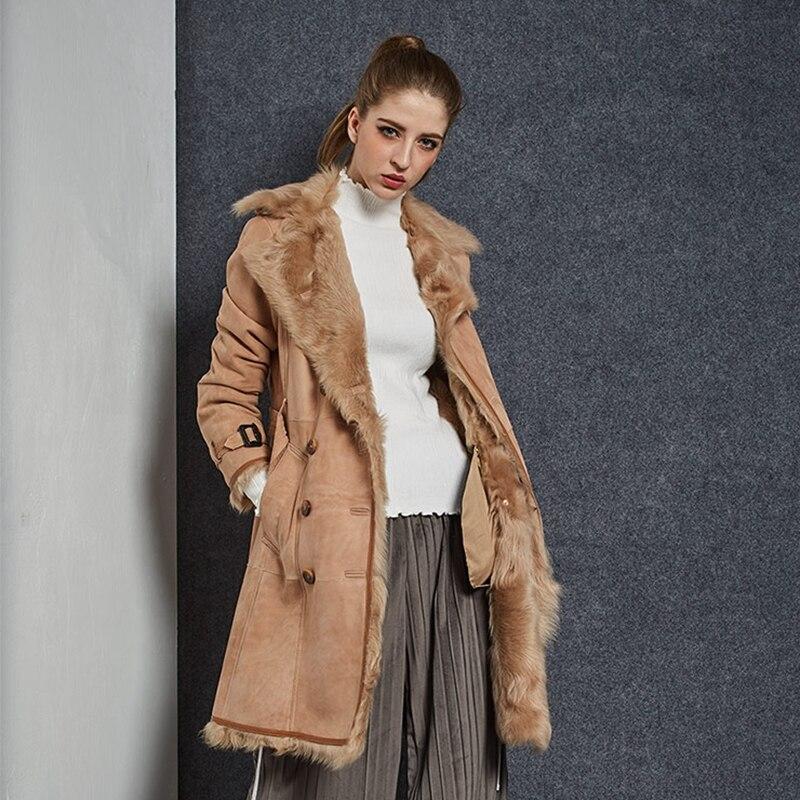 De Piel Mujeres Camel Cara 2018 Y Abrigo Merino Moda Prendas Cálido qFPTgWcP