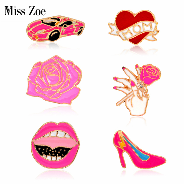 US $0 85 20% OFF|Miss Zoe Car Rose MOM Heart Lips High heeled shoesBrooches  Button Pins Denim Jacket Pin Badge for Bag T shirt Jewelry Gift-in