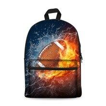 Canvas Backpack Black Daypack laptop Bag Basket Football Design for Boys Girls School