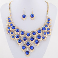 African Beads Jewelry Set Crystal Statement Necklace Set Wedding Jewelry Set For Bridal Rhodium Gold Plated