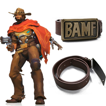 Game OW Mccree Cos Cowboy Metal Copper BAMF Buckle With Leather Belt Cosplay Costume Sashes Props Gift Haloween/Stage Cosplay