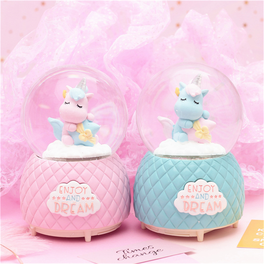 Baby Bedroom In A Box Special: LED Night Light Unicorn Music Box Resin Crystal Ball